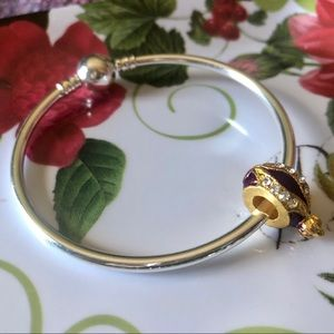 Purple, Gold and Crystal Faberge Egg Charm for sale